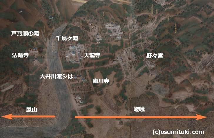 嵯峨嵐山が描かれた部分(洛外図屏風)
