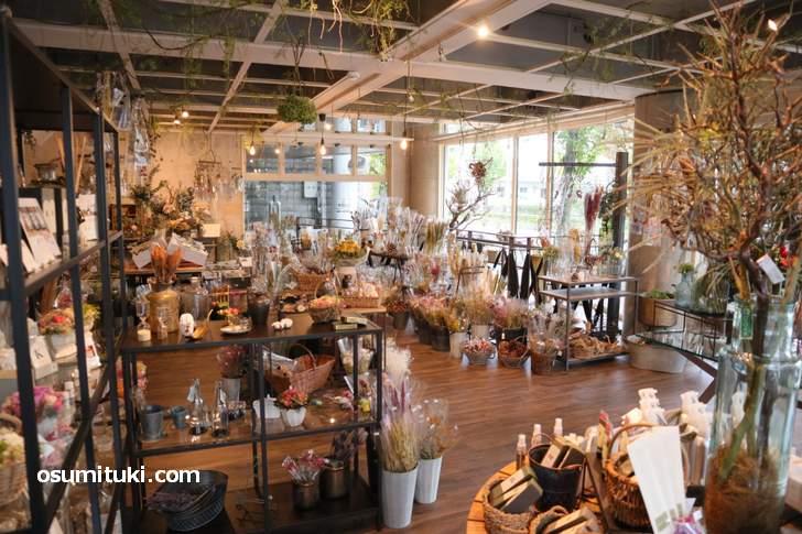 一階が「花のアトリエ イラン イラン」、地下が「ボタニカルグリーン&フラワーカフェ」