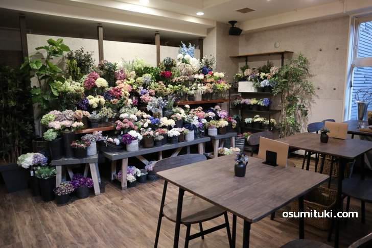 カフェスペースにも花がたくさんありました