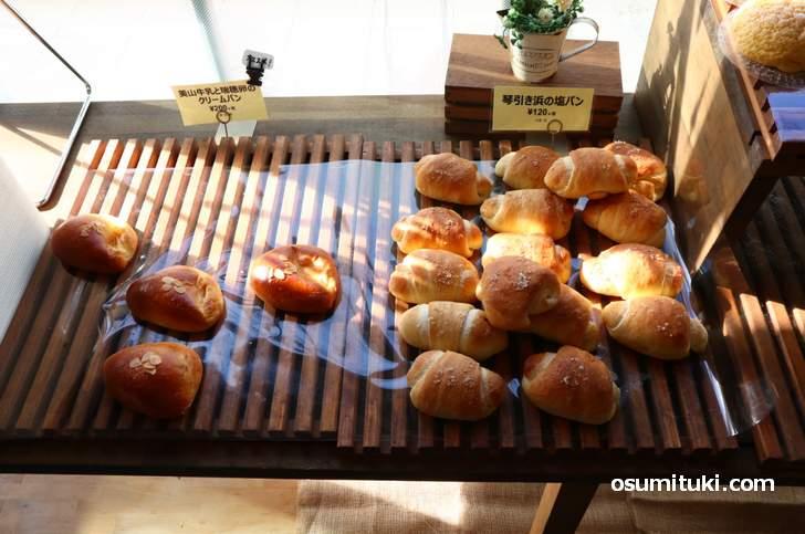 琴引き浜の塩パン(120円)、美山牛乳と瑞穂卵のクリームパン(200円)