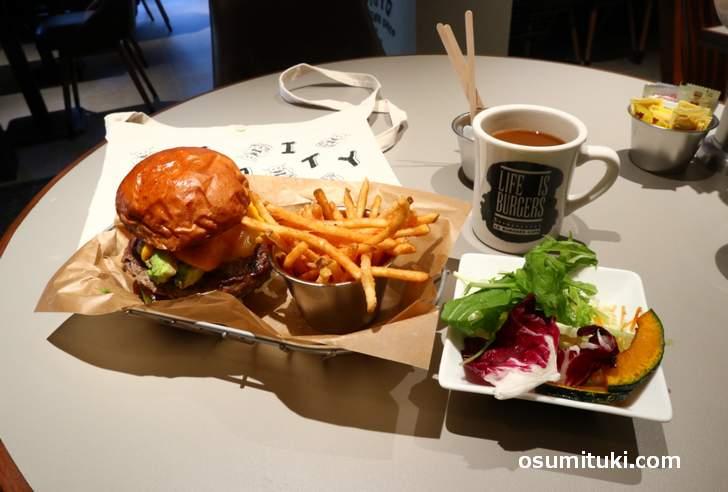 ハンバーガー・ランチセット(1306円)