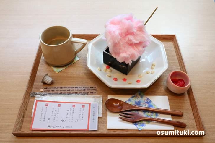 「さくらミルク京綿菓子とフロマージュブラン」はコーヒー付きで900円