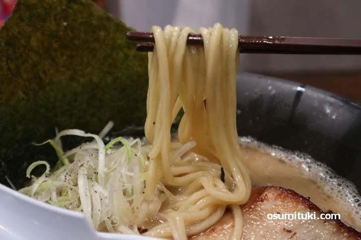丸い太麺、よく食べるキラメキの麺です