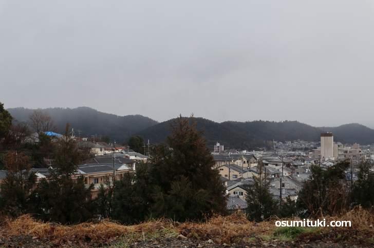 比叡山の南側、冠雪はありませんでした(2019年1月9日10時)