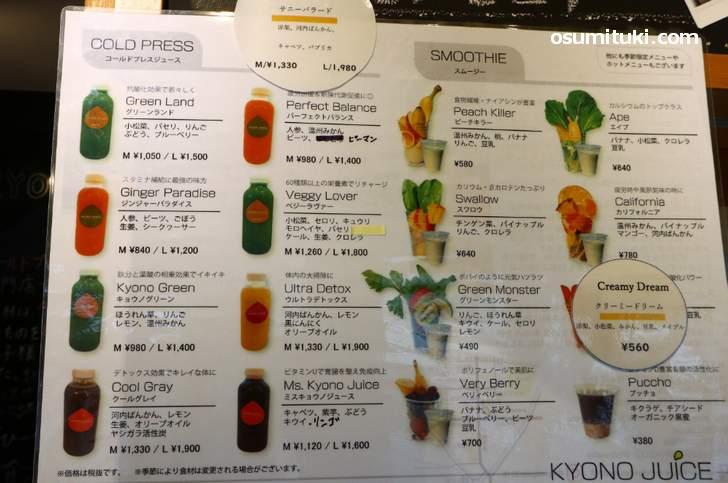KYONO JUICEさんのメニューと値段