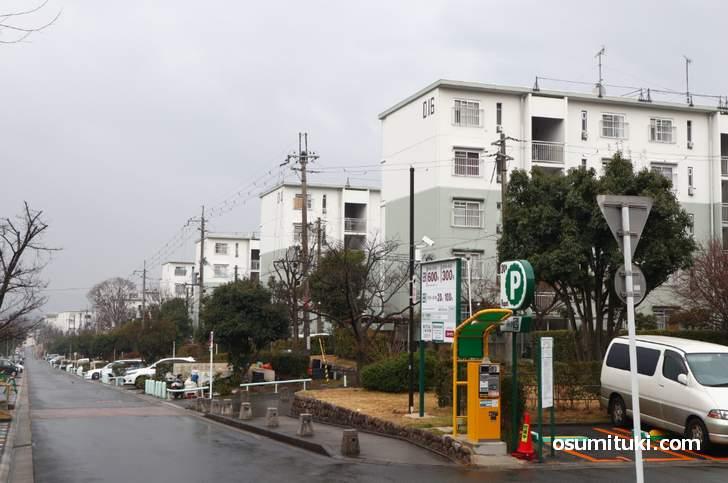 広大な公団住宅がある高台の町「男山」の風景
