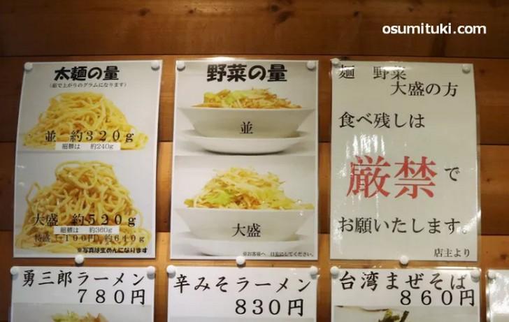 勇三郎ラーメン 麺量は320g(太麺)、240g(細麺)