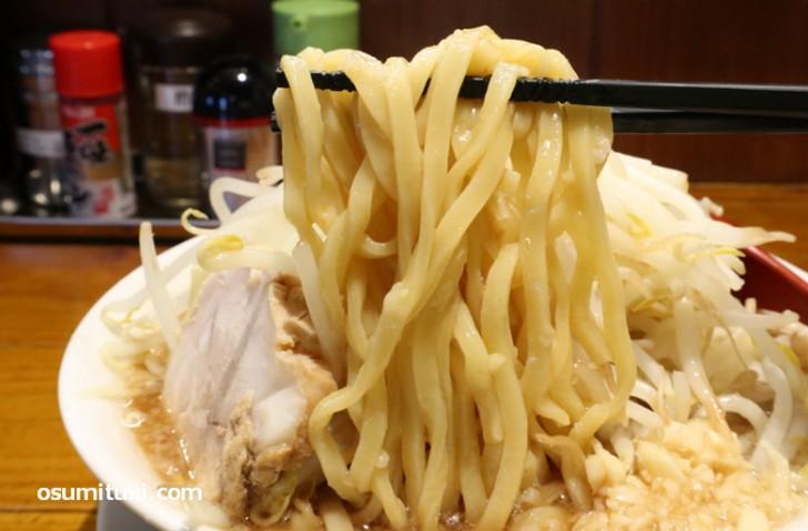 太麺の並は麺量320gで平打ちの麺です