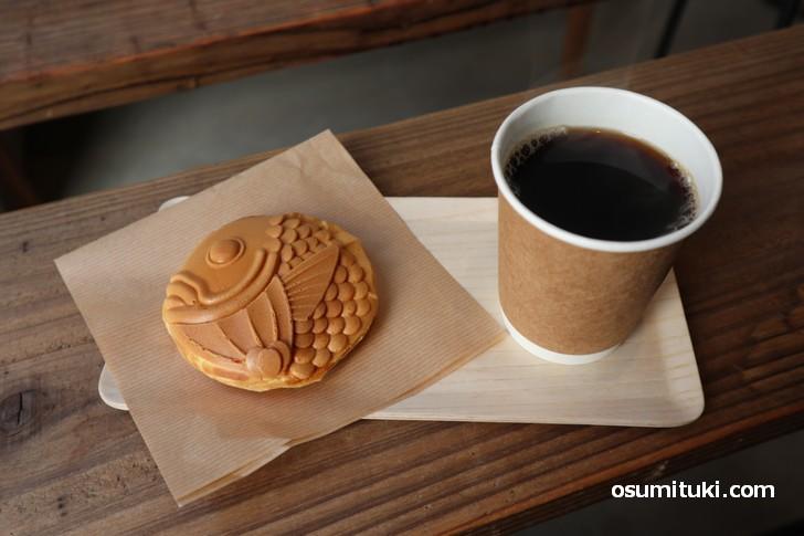 熊本「まるきん製菓」の丸い鯛焼きを京都で食べることができます(あまいろ コーヒーとたい焼き)