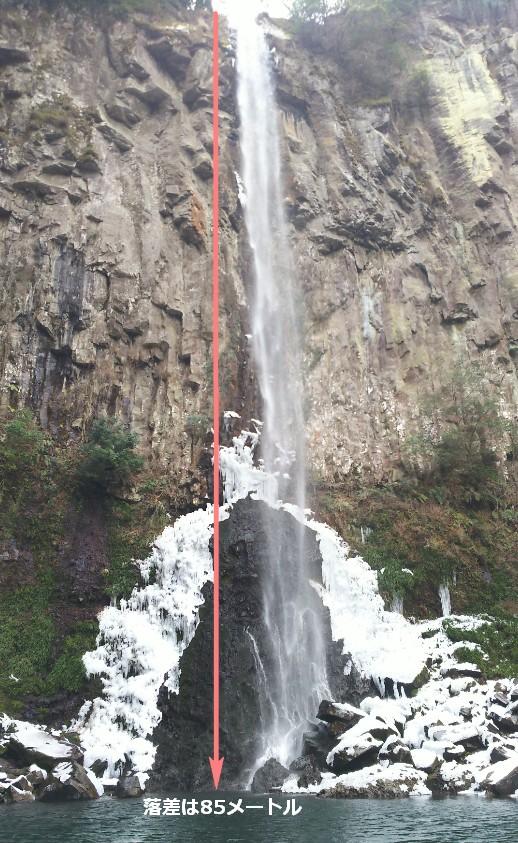 滝のテッペンから滝壺までの落差が85メートルある