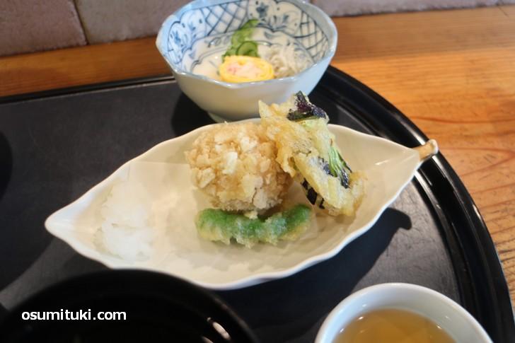 天ぷらは「ししとう、茄子、ごま豆腐」