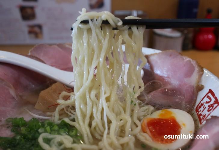 京都産小麦と北海道産小麦のブレンド、伸びのあるコシがあります