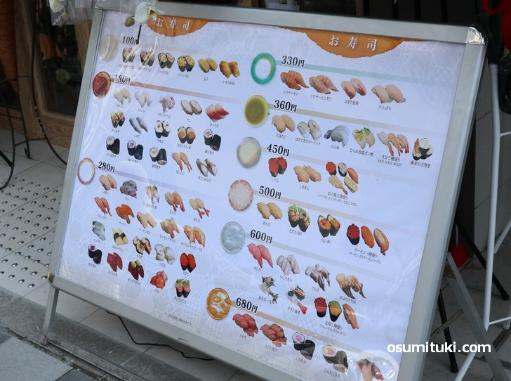 お寿司の値段は100円~680円です(にぎり乃金次郎 京都駅前店)