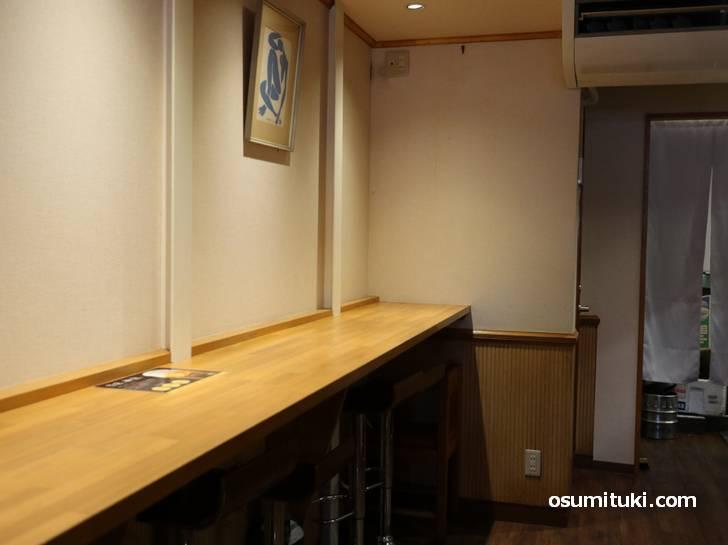 店内(東寺こまどり)は普通に割烹の雰囲気です