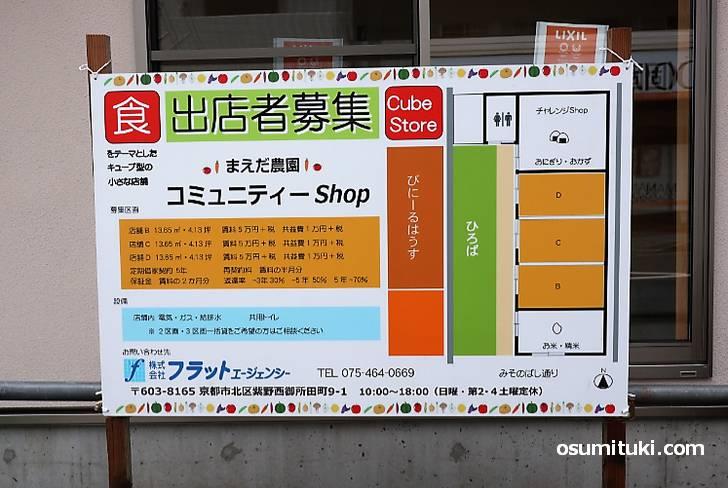 御薗橋の「まえだ農園」さんがキューブ型小店舗で出店者を募集してます