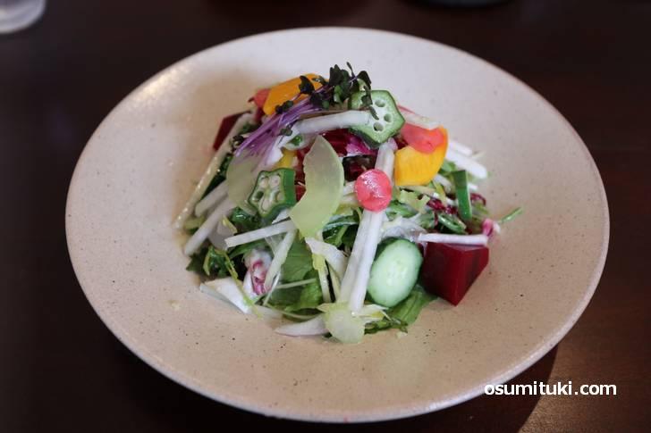 15種類のサラダ、8割は久御山産の野菜です