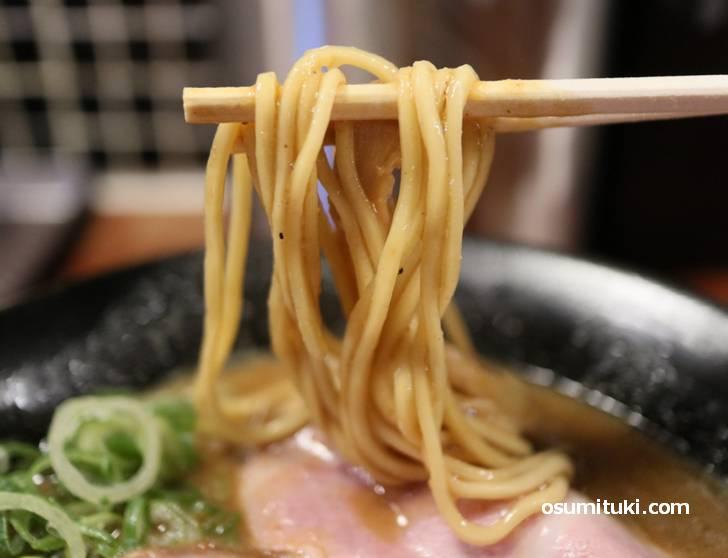 麺は棣鄂(テイガク)の国産小麦を3種類使用した中太麺