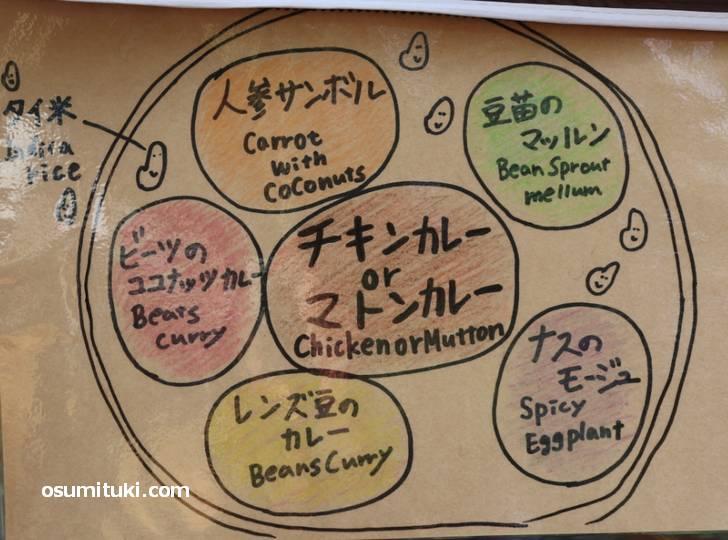 カレーに野菜のおかずが5種類盛られています