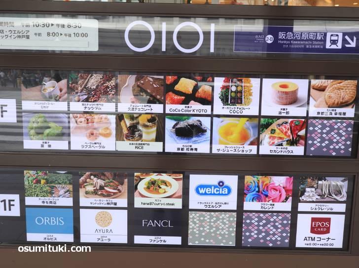 一階にはスタンド形式のカフェ、地下一階などにも飲食店がありました(マルイ京都)