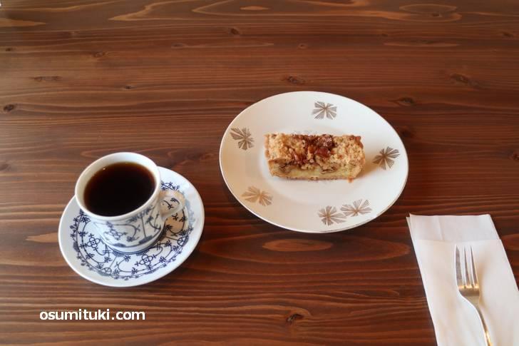 浅煎り珈琲と胡桃のケーキ