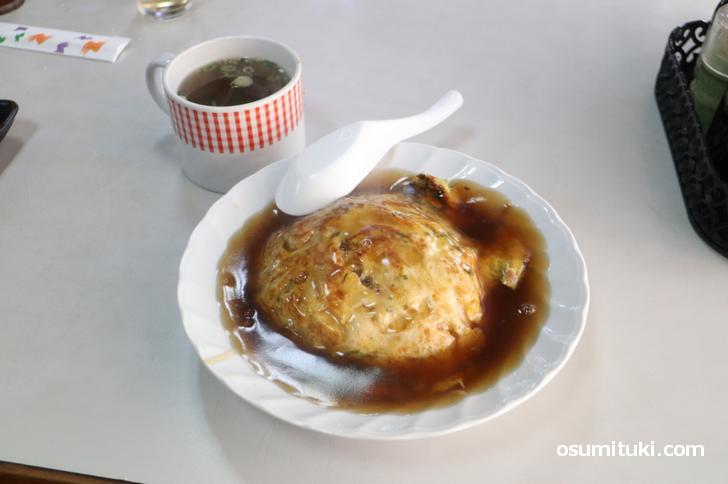 京都なのに甘酢餡の天津飯なんです!