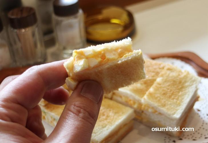 京都で長く愛されている玉子サンド、おいしかったです