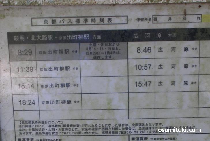 百井別れバス停の時刻表