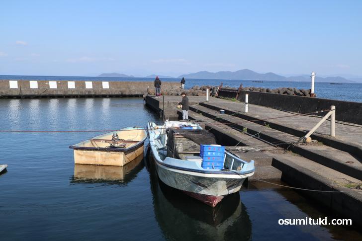 和邇漁港(わにぎょこう)、映っている漁船が「氷魚(ひうお)」漁で使われた船
