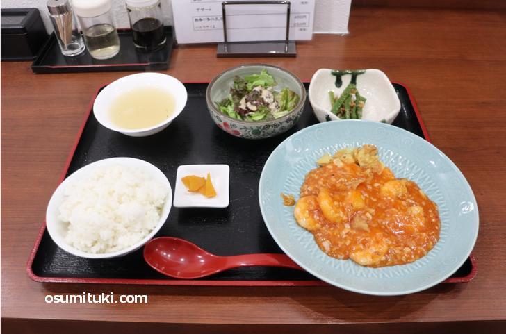 エビチリ定食(1100円)