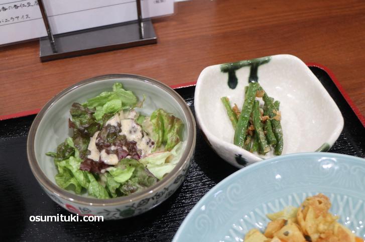 小鉢とサラダも付いてきます