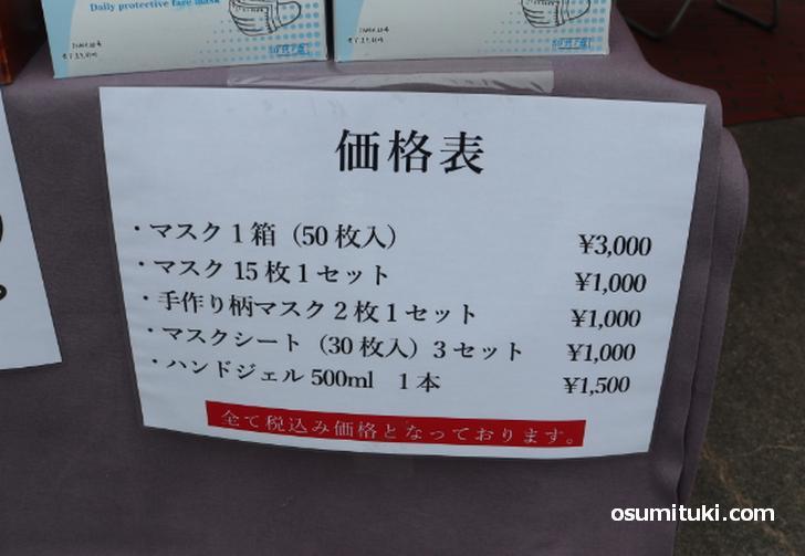 価格表(マスク)