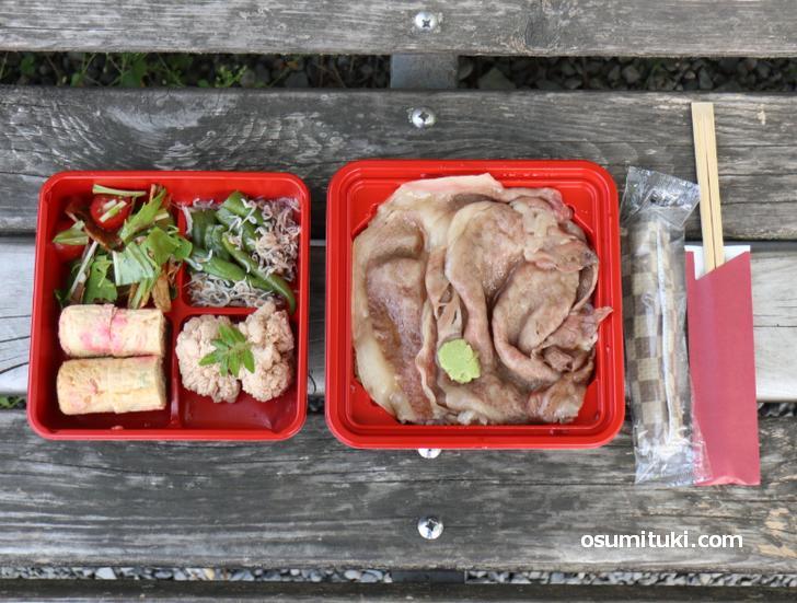 源氏和牛 リブロース(すき焼き重)+おばんざい4種セット(2300円)
