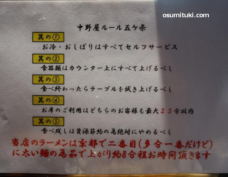 中野屋 今出川店のルール(五か条)