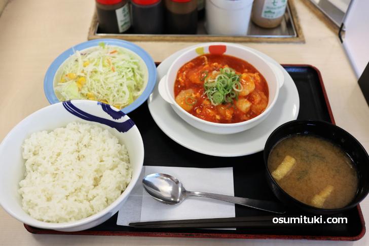海老のチリソース定食(730円)ライス大盛無料