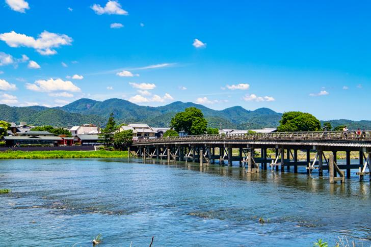桂川の中州から嵯峨を撮影した風景、橋は「渡月橋」です