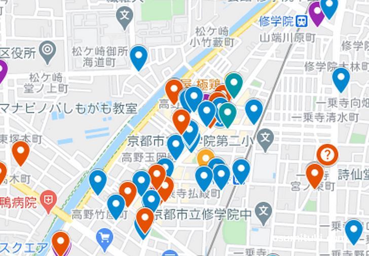一乗寺エリア(京都ラーメンマップより抜粋)