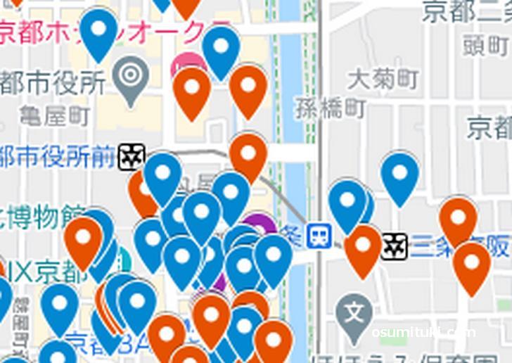 三条エリア(京都ラーメンマップより抜粋)
