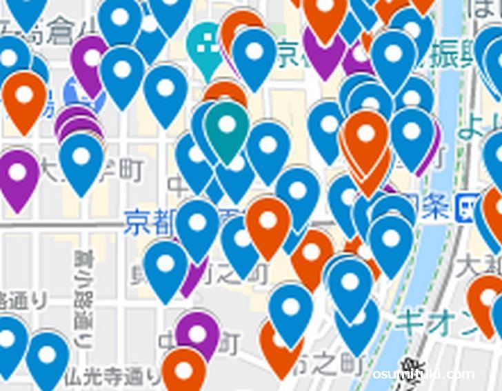 河原町エリア(京都ラーメンマップより抜粋)