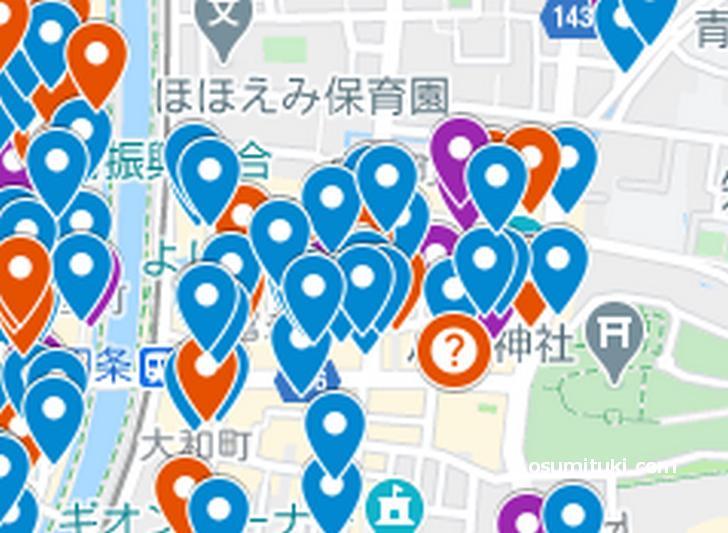 祇園北側エリア(京都ラーメンマップより抜粋)