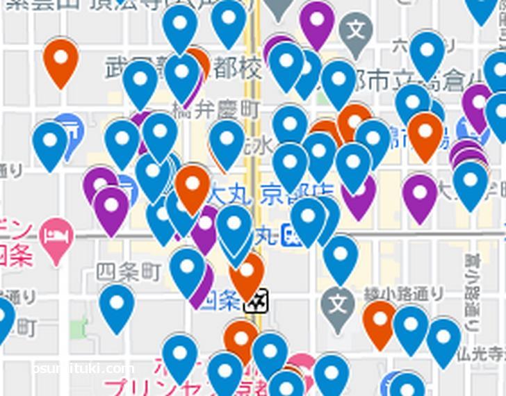 四条烏丸エリア(京都ラーメンマップより抜粋)