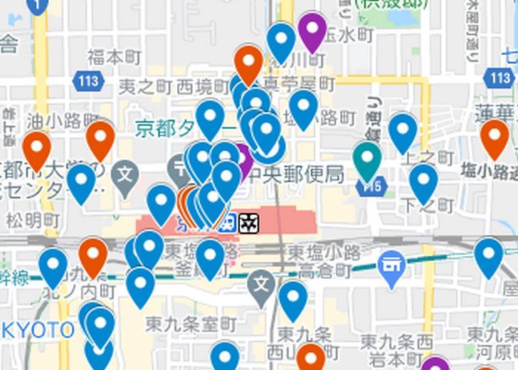 京都駅周辺エリア(京都ラーメンマップより抜粋)