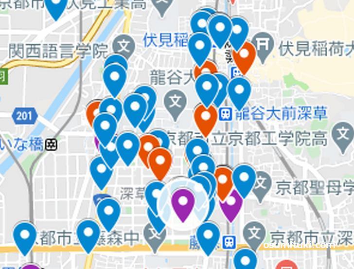 深草エリア(京都ラーメンマップより抜粋)