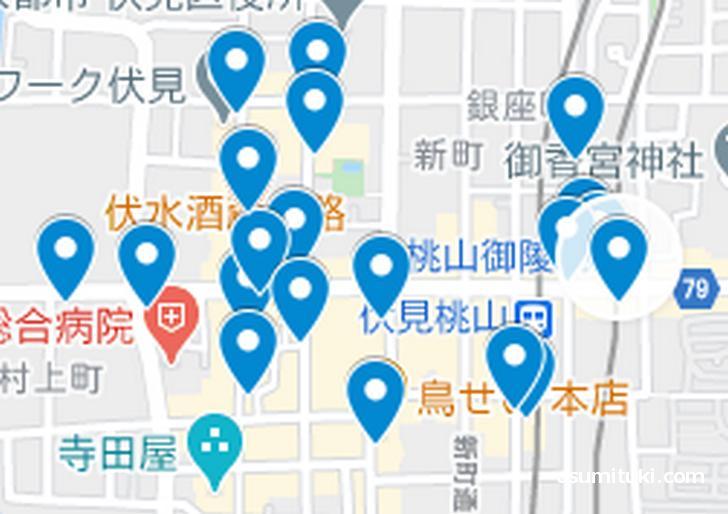大手筋エリア(京都ラーメンマップより抜粋)