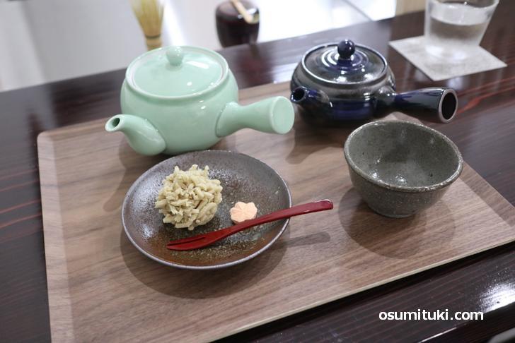 栗きんとん(700円)+ほうじ茶(500円)
