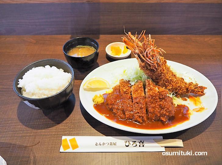 ロースとんかつ&海老フライ(特大)定食+大盛ライス