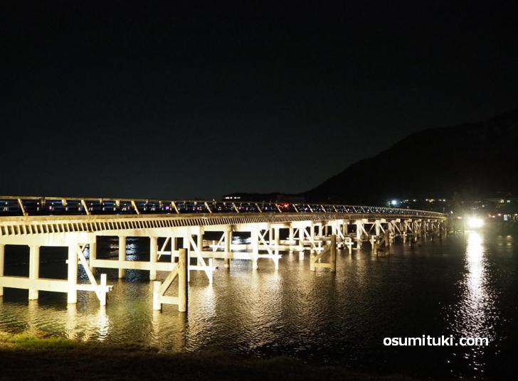 渡月橋のライトアップ(嵐山花灯路2020)