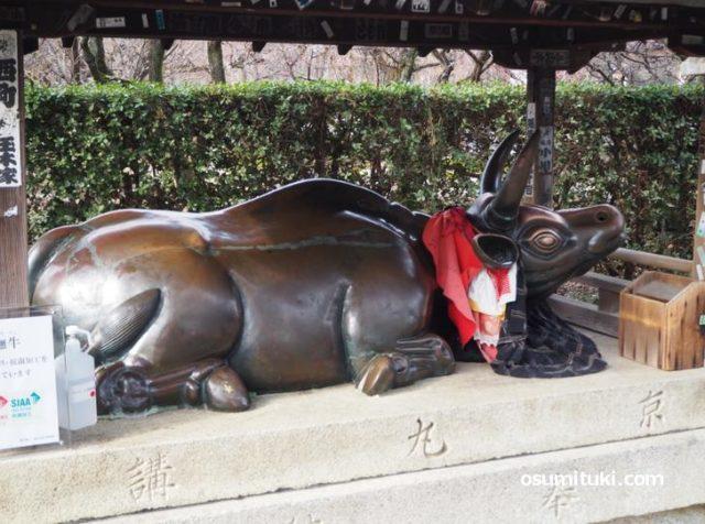 一の鳥居から参道を歩いているとある銅製の撫で牛(北野天満宮)