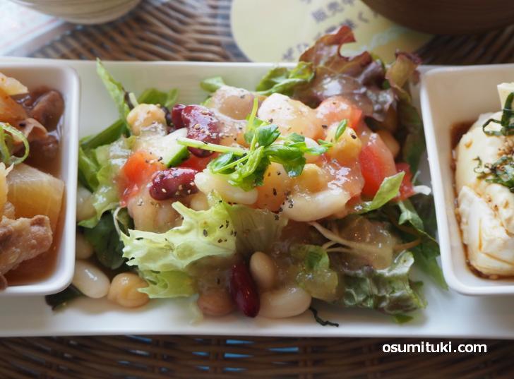 えびと4種の豆のコロコロサラダ