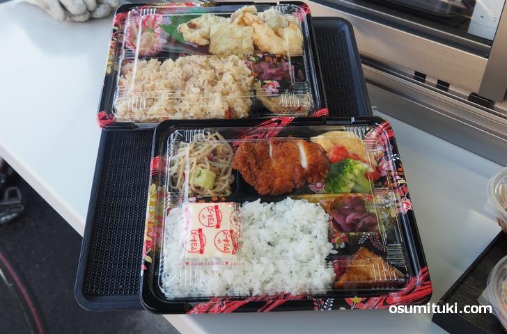 当日の弁当は5種類ありました(写真は天ぷら弁当・チキンカツ弁当)