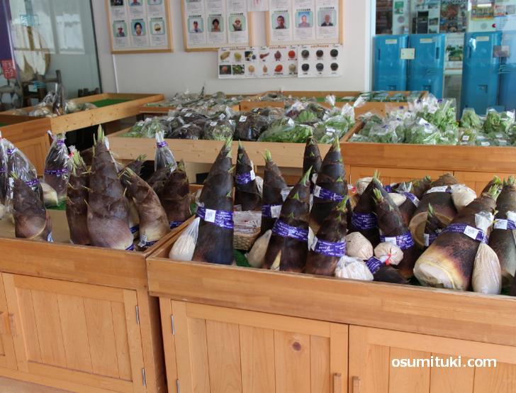 今の時期はタケノコが旬、地元野菜もたくさん販売していますよ